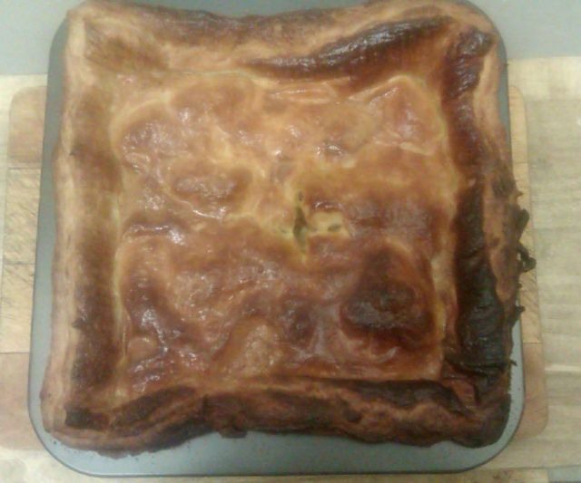 """""""A square flakey pastry topped pie"""""""